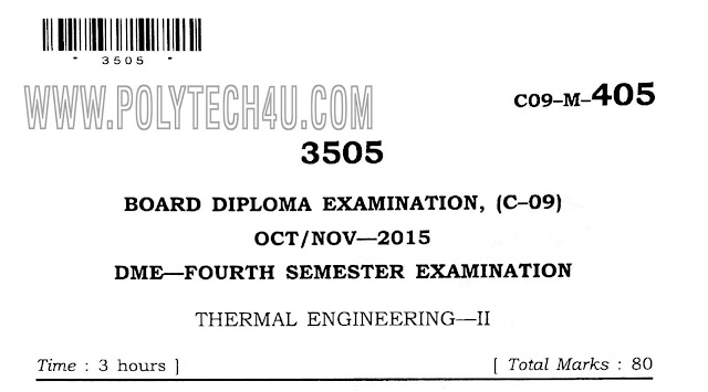 C-09 -M- 405 THERMAL ENGINEERING-2 PREVIOUS QUESTION PAPER