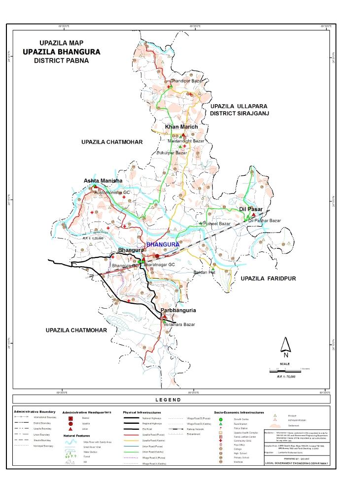 Bhangura Upazila Map Pabna  District Bangladesh