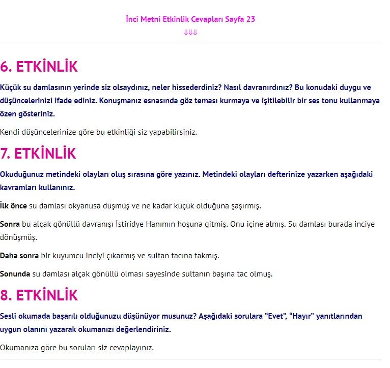 3. Sınıf Türkçe Çalışma Kitabı Cevapları Dikey Yayınları Sayfa 23