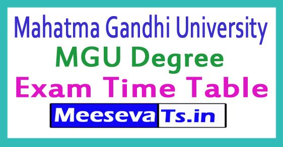 Mahatma Gandhi University MGU Degree Exam Time Table