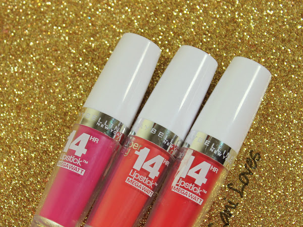 Maybelline Superstay Megawatt Lipstick - Flash of Fuchsia, Burst of Coral, Red Rays Swatches & Review
