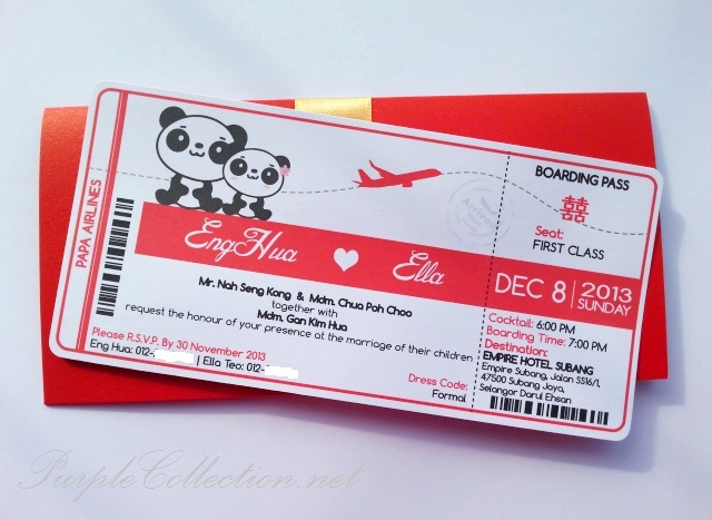 Red Boarding pass wedding invitation card, malaysia, kuala lumpur, pearl card, art card, envelope purchase, online, buy, selangor, penang, ipoh, perak, sabah, sarawak, kuching, miri, bintulu, sandakan, tawau, labuan, singapore, canada, ontario, new york, USA, vancouver, australia, melbourne, asian, china, export, import, peonies, floral, because love should be celebrated, tara panda, printing, personalised, personalized, sydney, handmade, hand crafted, ivory gold ribbon, satin, beige, white, black, decoration, stationery, invites, modern, NSW, canberra, perth, cairns, adelaide, empire hotel, subang