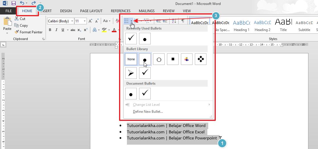 Penggunaan Bullets, Numbering, dan Multilevel List pada Microsoft Word