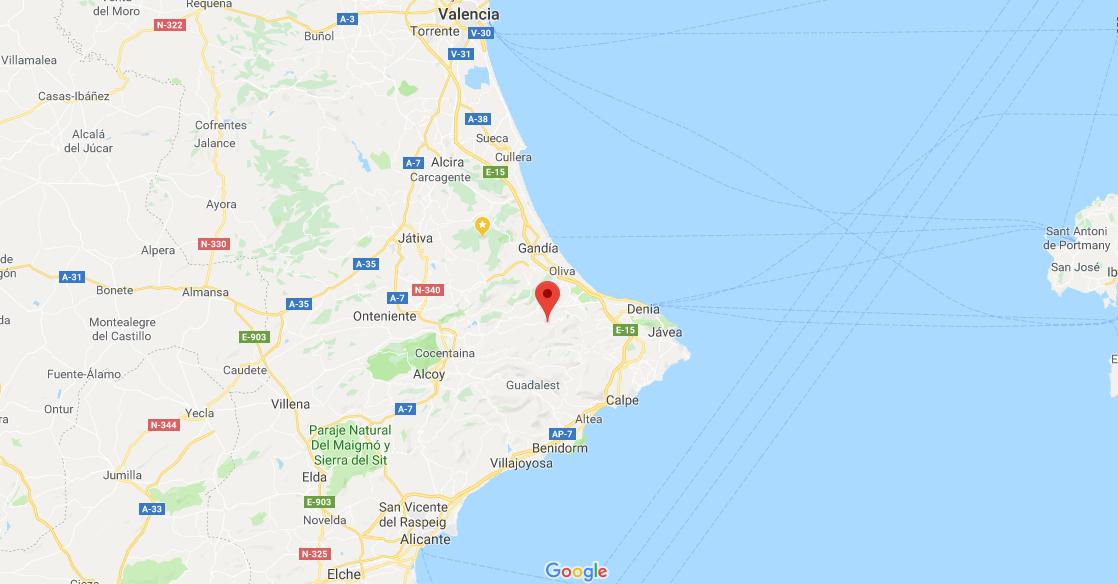 Location of Vall de Ebo, Alicante