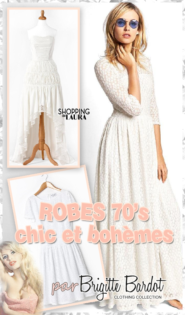 robe blanche d 39 t en dentelle boh me brigitte bardot. Black Bedroom Furniture Sets. Home Design Ideas
