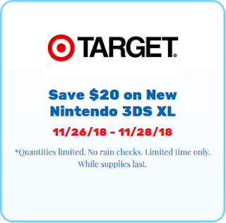 Target save $20 on New Nintendo 3DS XL Black Friday 2018 deal typo error