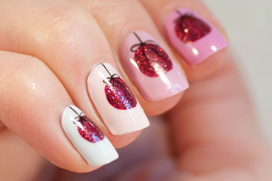 Red free hand Christmas Ornament Nail Art design
