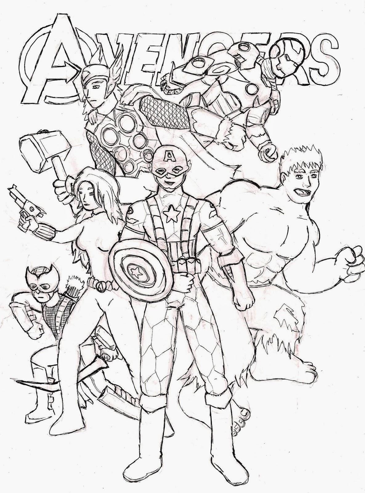 desenhos dos vingadores desenhos preto e branco para colorir