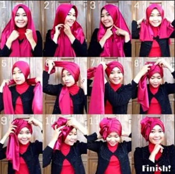 tutorial memakai hijab satin