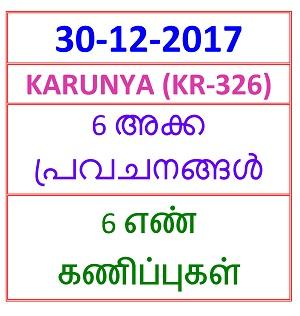 30-12-2017 6 NOS Predictions KARUNYA (KR-326)