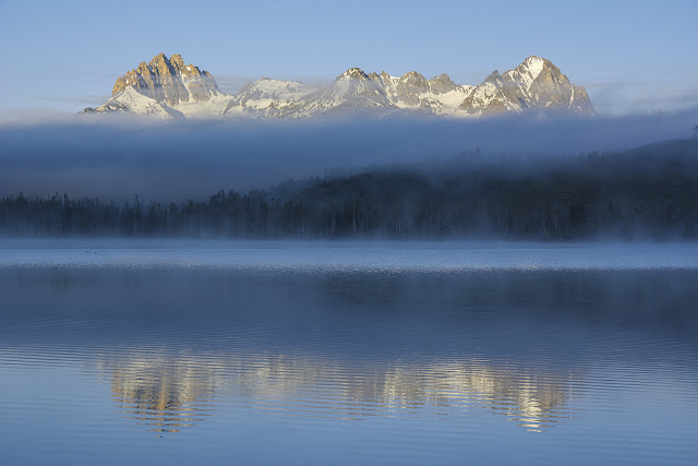 Sunrise at little redfish lake with Heyburn Mountain and Horstmann Peak Stanley Idaho