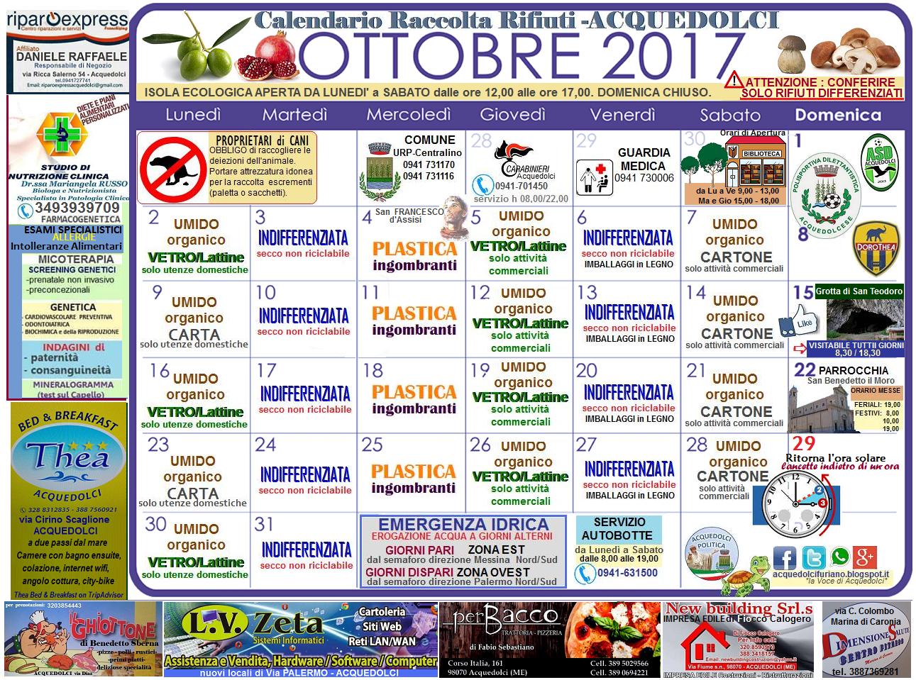 Il Tuo Quartiere Non E Una Discarica Calendario 2020 Municipi Dispari.Raccolta Differenziata Il Calendario Del Mese Di Ottobre 2017