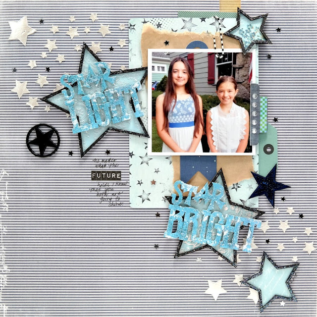 Star Light Star Bright Stamped Stenciled and Embellished Star Mixed Media Scrapbook Layout
