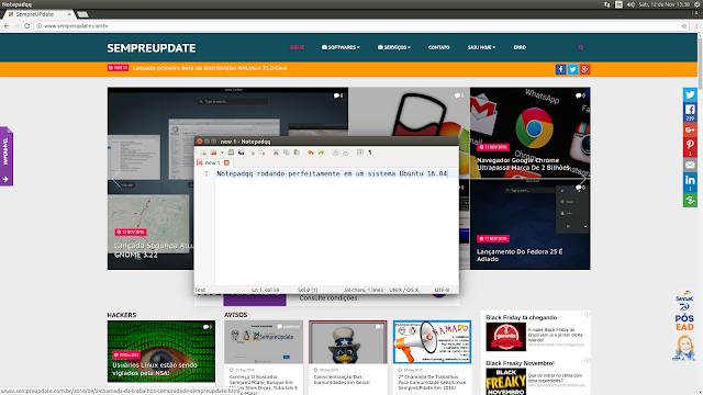 Notepadqq rodando em um sistema Ubuntu