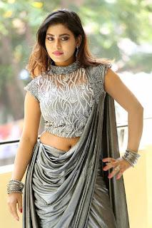Priyanka Augustin Hot Navel Show Pics In Gray Color Dress