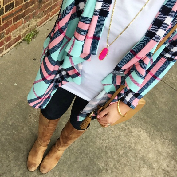 nella boutique, plaid cardigan, tan riding boots
