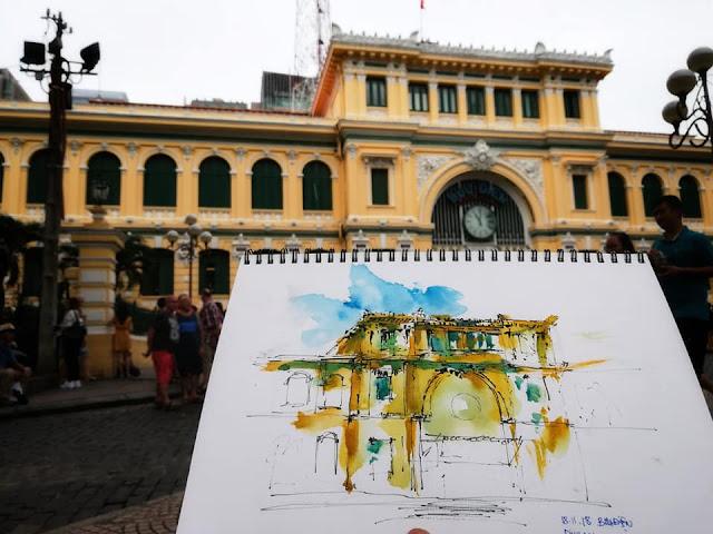 ký họa bưu điện Sài Gòn