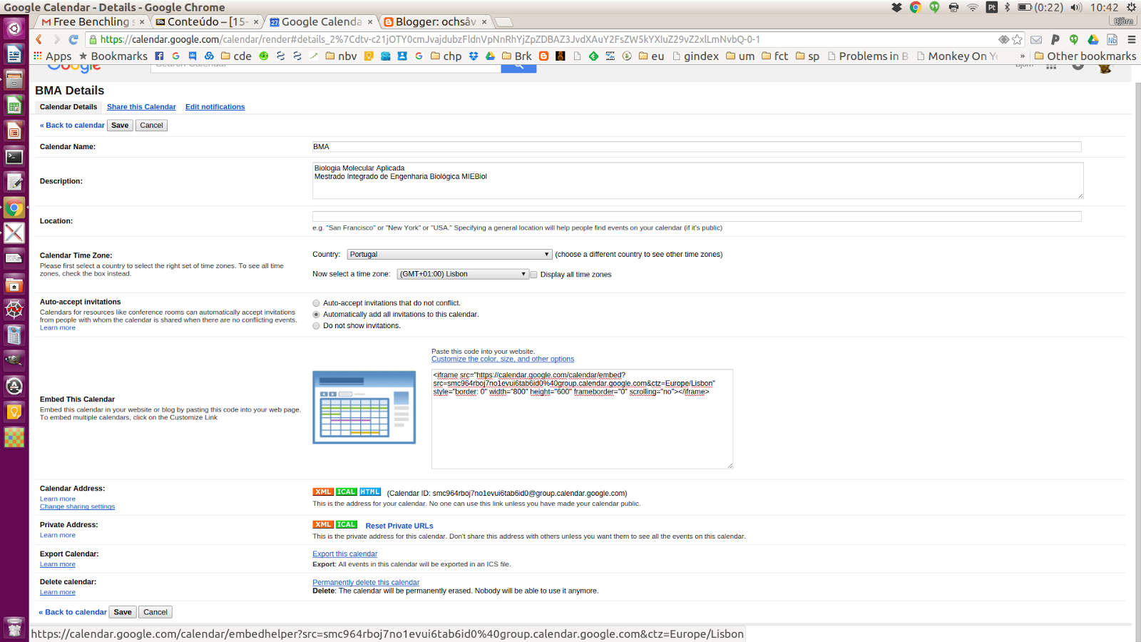 ochsåvidare: How to embed a google calendar in Blackboard