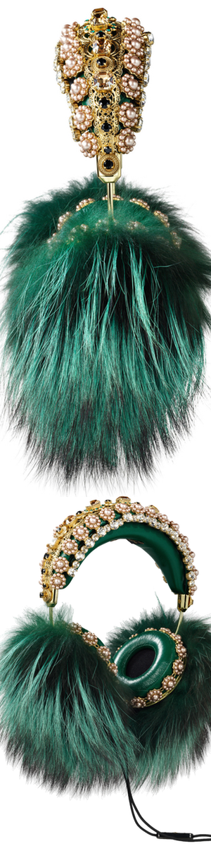 Dolce & Gabbana Embellished Leather Headphones Green Fox Fur