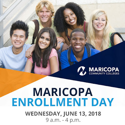 Poster for Maricopa Enrollnent Day featuring a group of students smiling at the camera.  Text in blog.