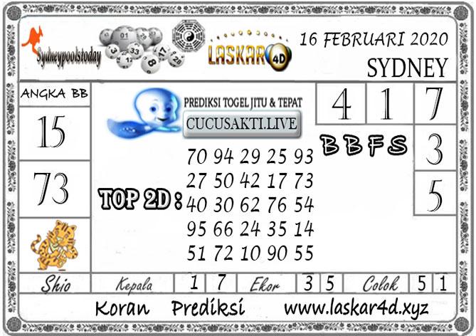 Prediksi Togel SYDNEY LASKAR4D 16 FEBRUARI 2020