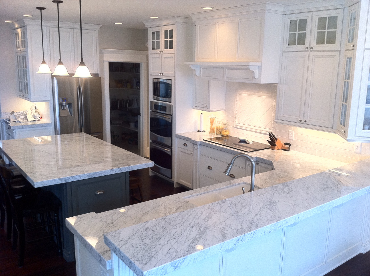 The granite gurus carrara marble kitchen from mgs by design - Kitchen design marble countertops ...