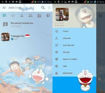 BBM MOD Doraemon Terbaru Change Background v3.2.3.11 APK Bebas Iklan