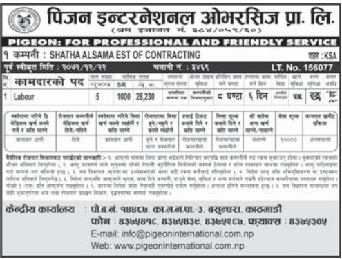 Jobs For Nepali In Saudi Arabia, Salary -Rs.28,230/