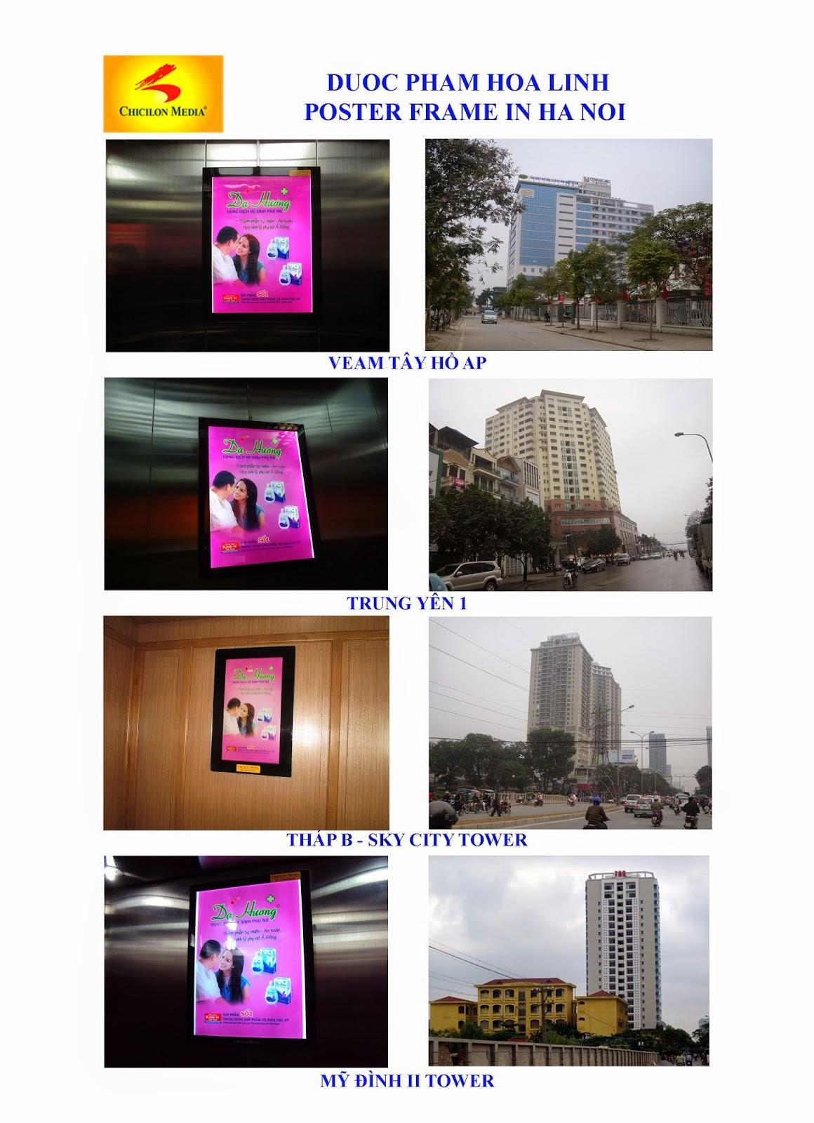quảng cáo trong thang máy, quảng cáo Poster Frame trong thang máy, hệ thống quảng cáo chicilon media