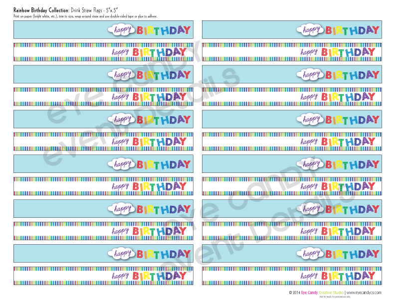 rainbow birthday party flags, drink flags, happy birthday, birthday party idea