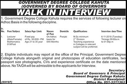 Latest jobs in Government Degree College Kahuta t