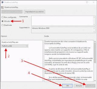 Editor Criteri di gruppo locali - Disattiva AutoPlay Windows 10