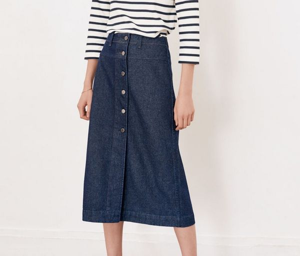 Jupe denim midi, Comptoir des Cotonniers - Quelle longueur de jupe choisir ? - Blog Mode