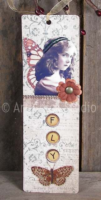 Flower Girl Altered Art Bookmark