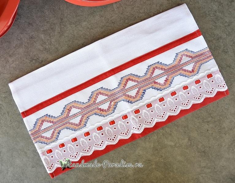 Декорирование полотенца вышивкой счетными швами или протяжками (1)