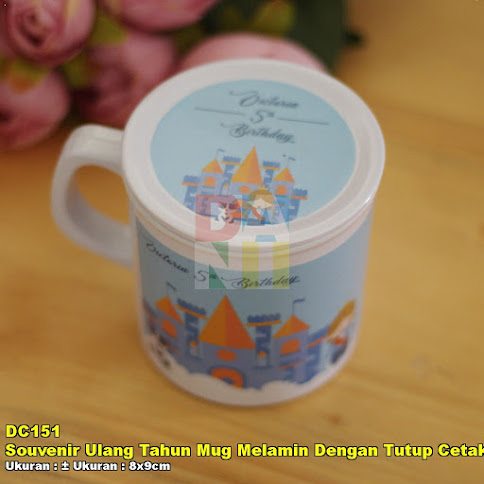 Souvenir Ulang Tahun Mug Melamin Dengan Tutup Cetak Full Colour
