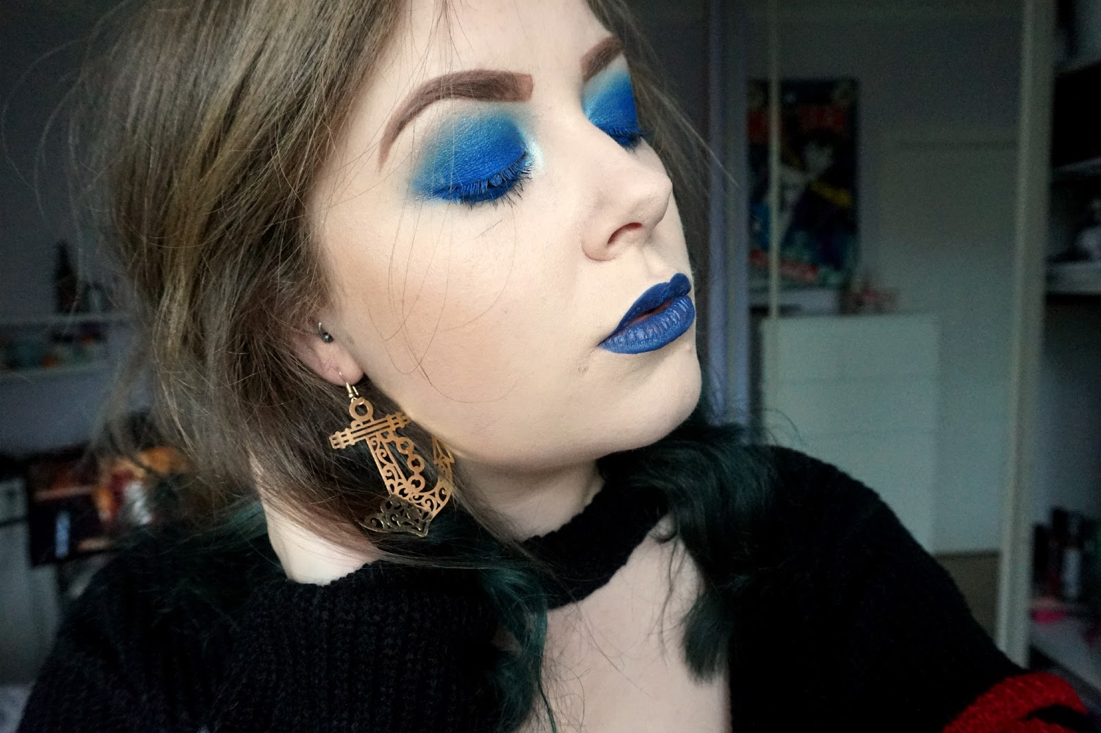 blue make-up, nautical make-up, sugarpill liquid poison shiver, sugarpill velocity eyeshadow, kiko 44 long lasting eyeshadow stick