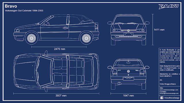 Imagem mostrando o desenho do blueprint do Bravo Volkswagen Gol Cabriolet 1994-2003