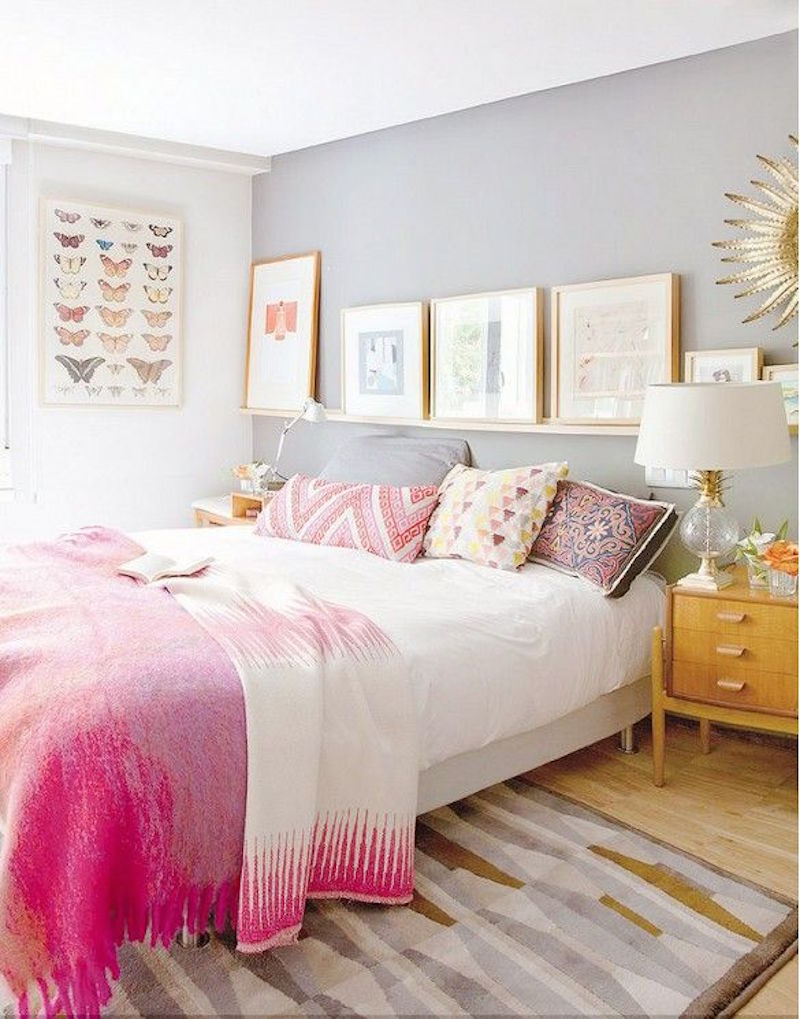 Beautiful Bedroom 7 This Pink And Gray Is Feminine Simple I Love The Decorative Pillows Picture Ledge Accent Wall