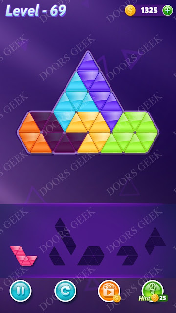 Block! Triangle Puzzle 6 Mania Level 69 Solution, Cheats, Walkthrough for Android, iPhone, iPad and iPod