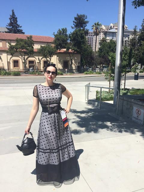 Gail Carriger Wears a Retro Polks Dotted Mesh eShakti Maxi Dress for WorldCon 2018 in San Jose