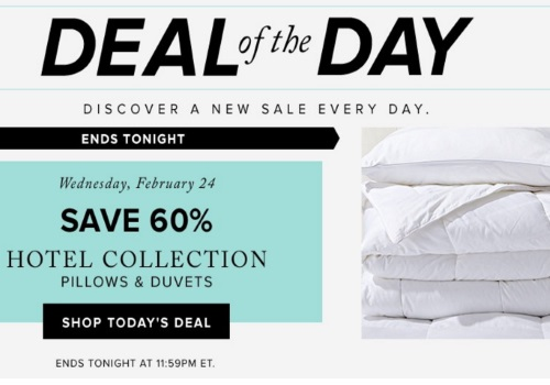Hudson's Bay Deal of the Day 60% Off Hotel Collections Pillows & Duvets
