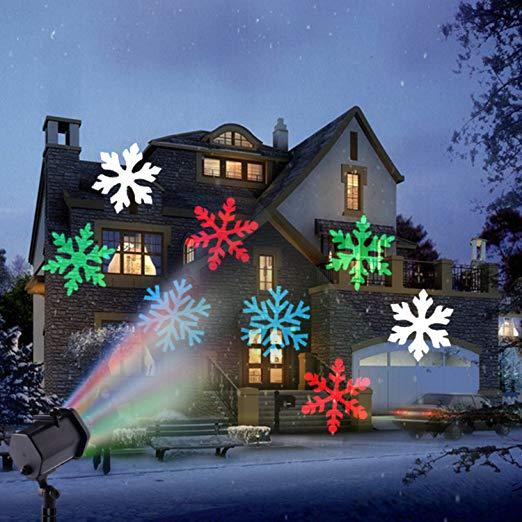 Proiettore Luci Natalizie Effetto Neve.Proiettore Led Effetto Fiocchi Di Neve Colorati Rgb Addobbi Natale