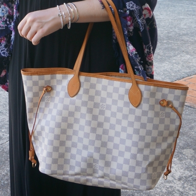 Louis Vuitton MM damier azur neverfull tote bag | away from the blue