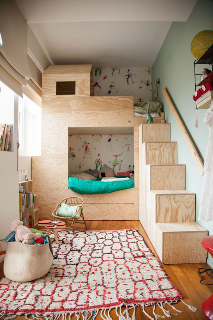 self made plywood bunk bed in children rooms