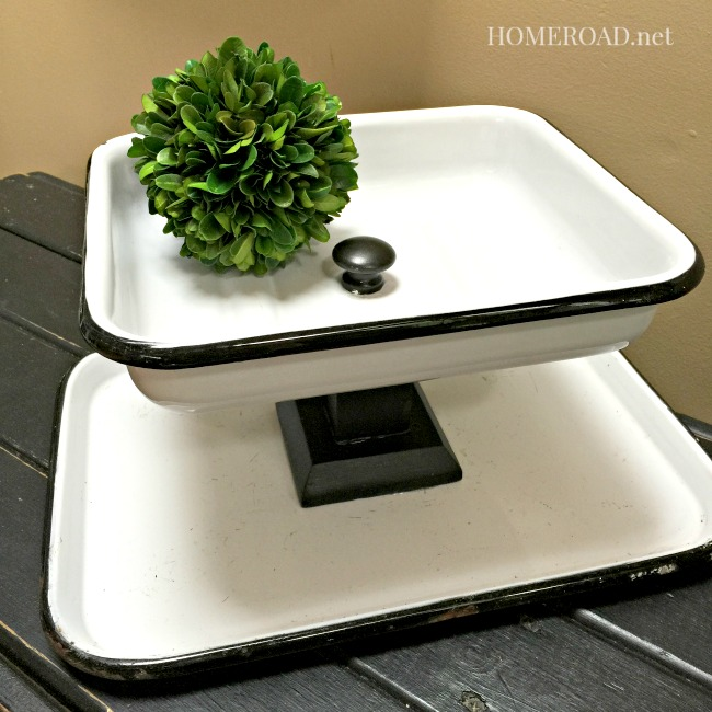 Enamelware Rectangular Tiered Tray