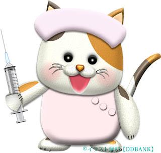 注射器を持つ猫ナースのイラスト