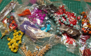 making upcycled jewellery with beads