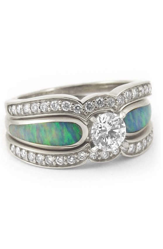 Beautiful Australian Crystal Opal Engagement Ring