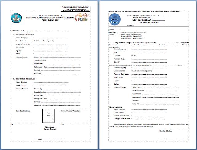 Contoh Formulir Pendaftaran FLS2N